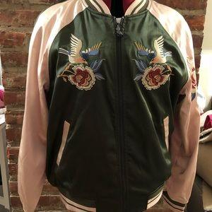 Express reversible satin bomber jacket NWT